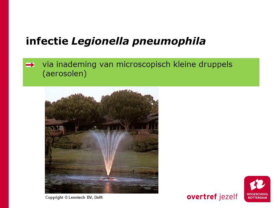 infectie Legionella pneumophila via inademing van microscopisch kleine druppels (aerosolen) Copyright © Lenntech BV, Delft