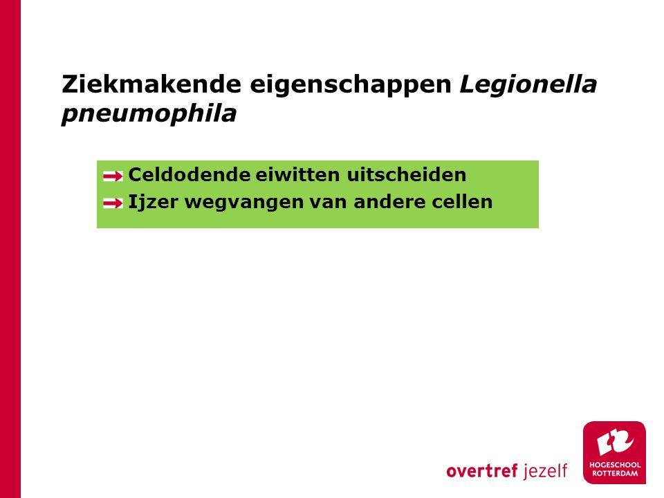 Ziekmakende eigenschappen Legionella pneumophila Celdodende eiwitten uitscheiden Ijzer wegvangen van andere cellen