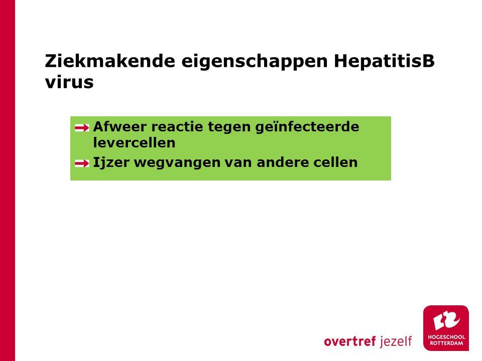 Ziekmakende eigenschappen HepatitisB virus Afweer reactie tegen geïnfecteerde levercellen Ijzer wegvangen van andere cellen