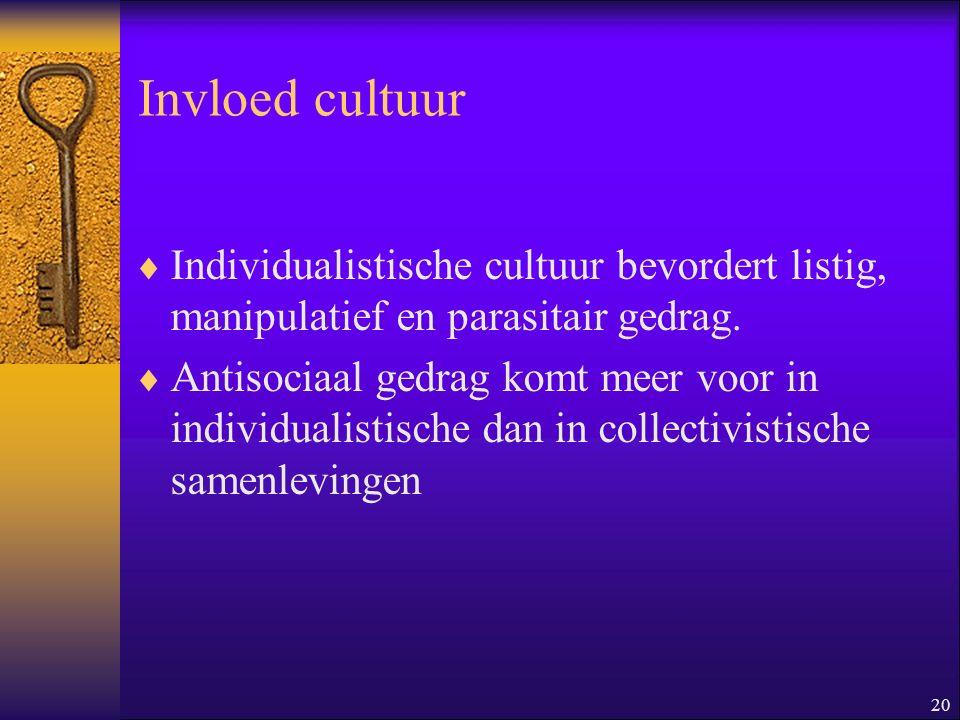 20 Invloed cultuur  Individualistische cultuur bevordert listig, manipulatief en parasitair gedrag.  Antisociaal gedrag komt meer voor in individual