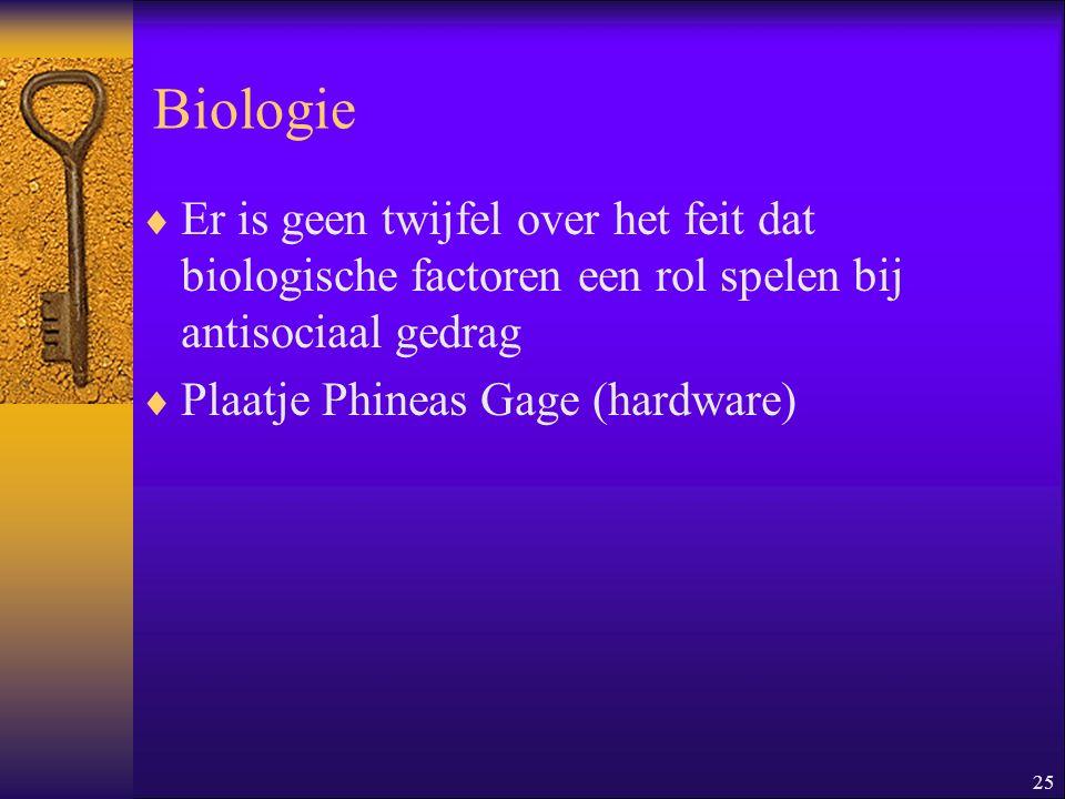 25 Biologie  Er is geen twijfel over het feit dat biologische factoren een rol spelen bij antisociaal gedrag  Plaatje Phineas Gage (hardware)