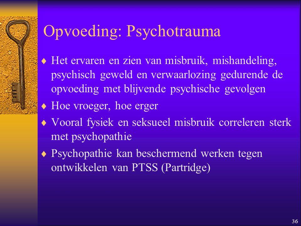 36 Opvoeding: Psychotrauma  Het ervaren en zien van misbruik, mishandeling, psychisch geweld en verwaarlozing gedurende de opvoeding met blijvende ps