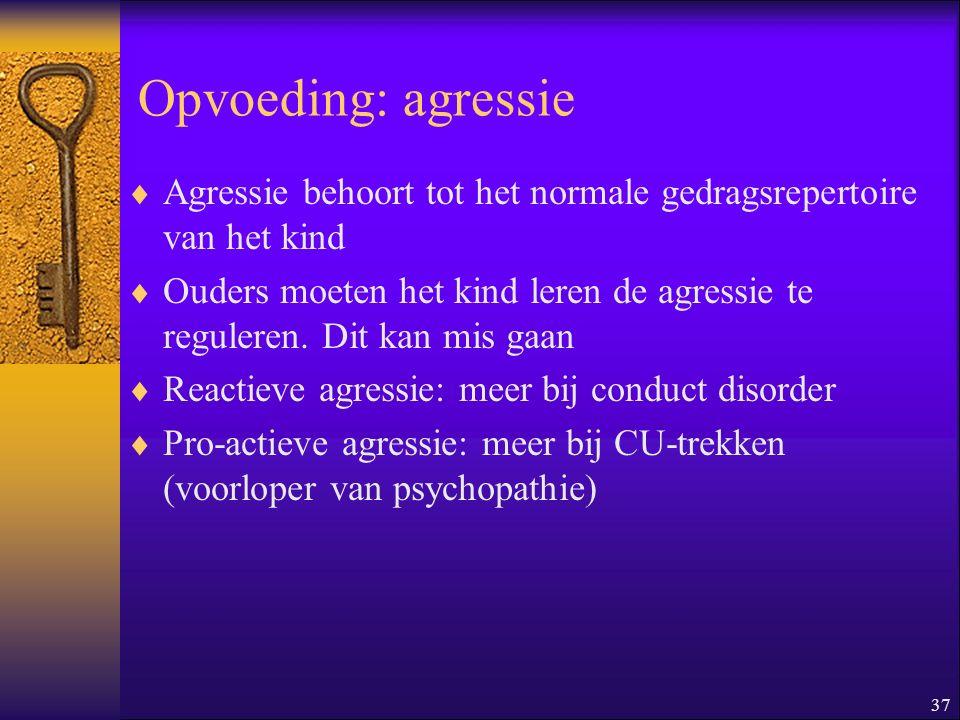 37 Opvoeding: agressie  Agressie behoort tot het normale gedragsrepertoire van het kind  Ouders moeten het kind leren de agressie te reguleren. Dit
