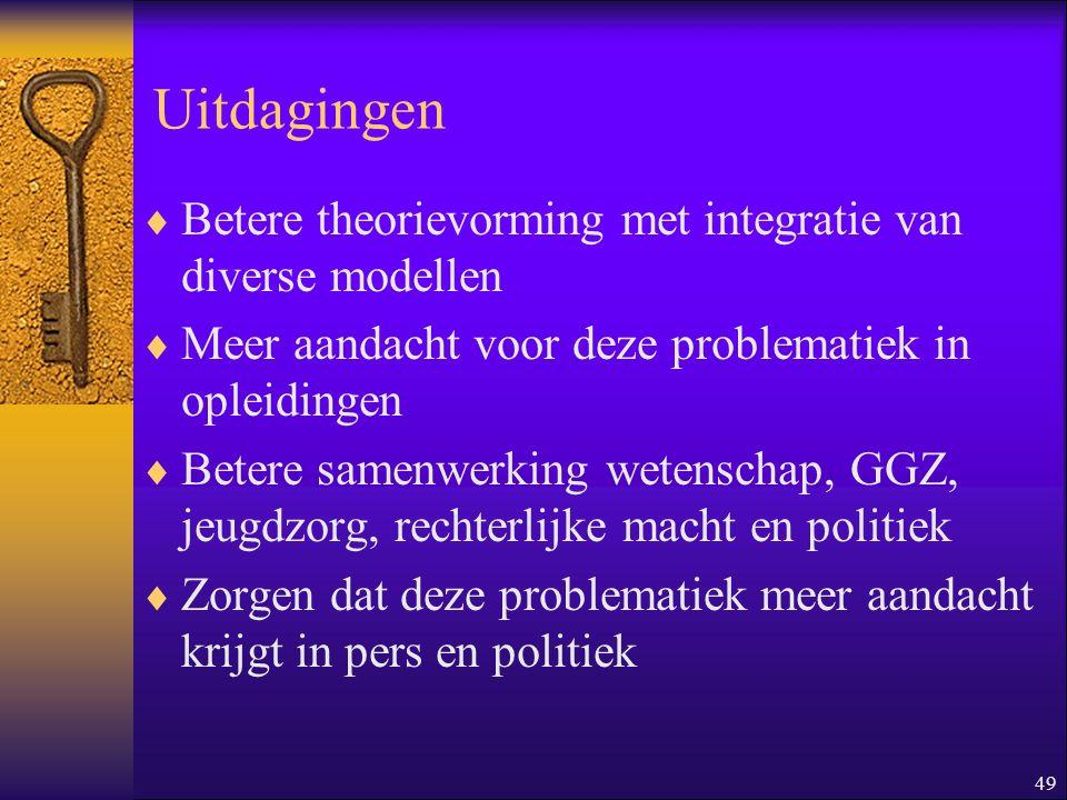49 Uitdagingen  Betere theorievorming met integratie van diverse modellen  Meer aandacht voor deze problematiek in opleidingen  Betere samenwerking