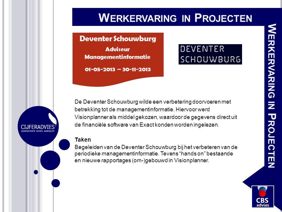De Deventer Schouwburg wilde een verbetering doorvoeren met betrekking tot de managementinformatie. Hiervoor werd Visionplanner als middel gekozen, wa