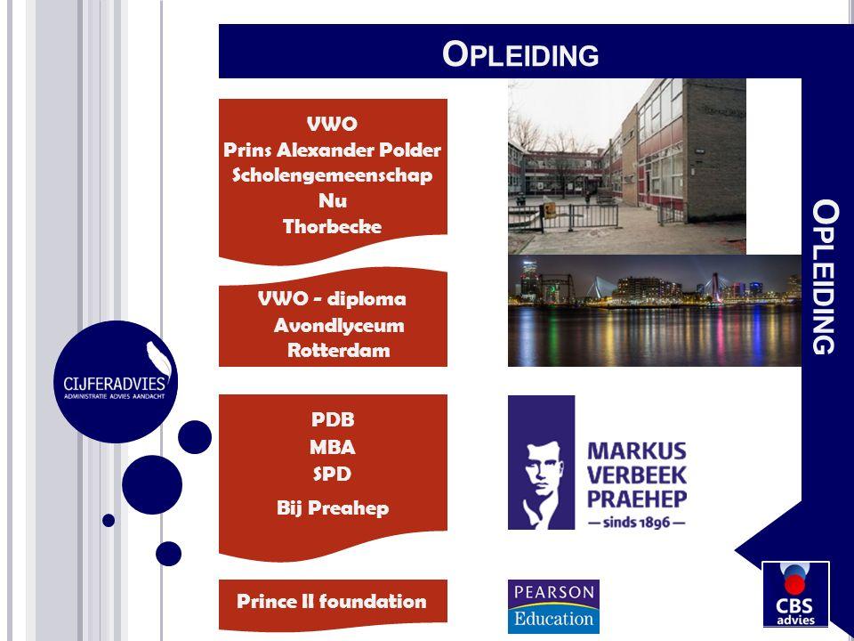 VWO Prins Alexander Polder Scholengemeenschap Nu Thorbecke VWO - diploma Avondlyceum Rotterdam PDB MBA SPD Bij Preahep O PLEIDING Prince II foundation