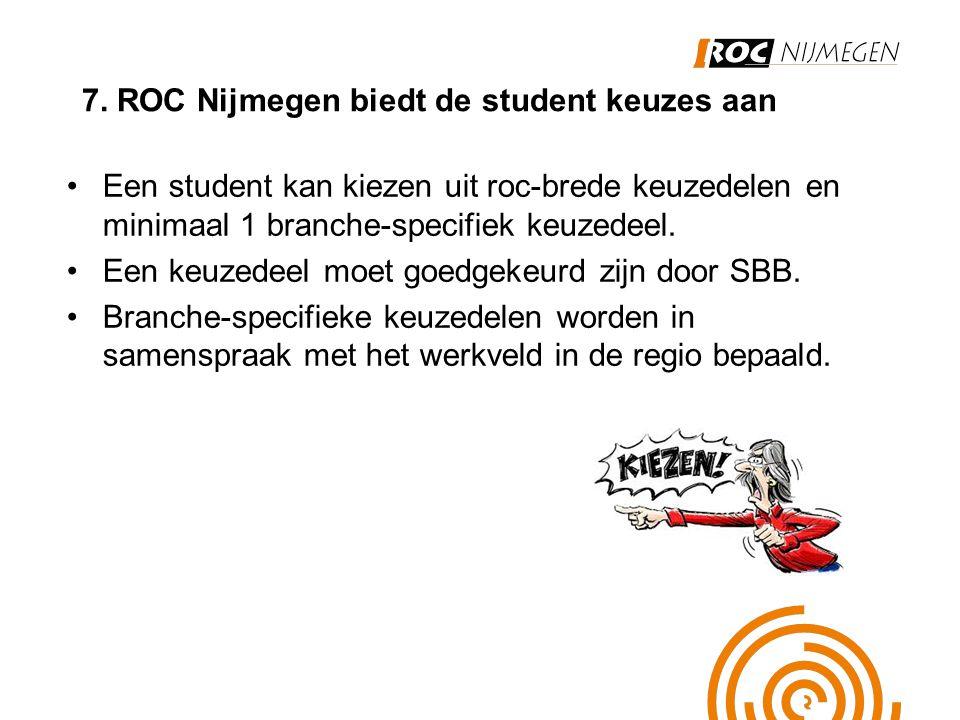 7. ROC Nijmegen biedt de student keuzes aan Een student kan kiezen uit roc-brede keuzedelen en minimaal 1 branche-specifiek keuzedeel. Een keuzedeel m