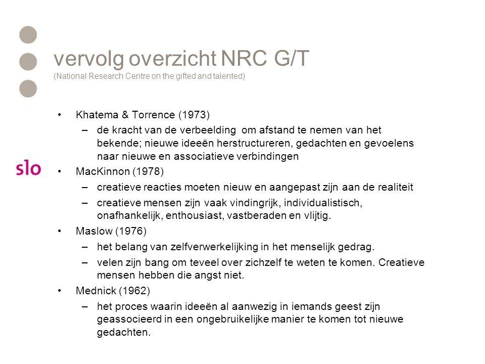vervolg overzicht NRC G/T (National Research Centre on the gifted and talented) Khatema & Torrence (1973) –de kracht van de verbeelding om afstand te