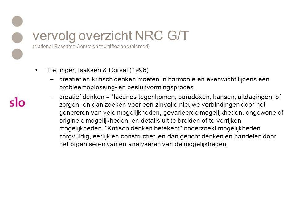 vervolg overzicht NRC G/T (National Research Centre on the gifted and talented) Treffinger, Isaksen & Dorval (1996) –creatief en kritisch denken moete