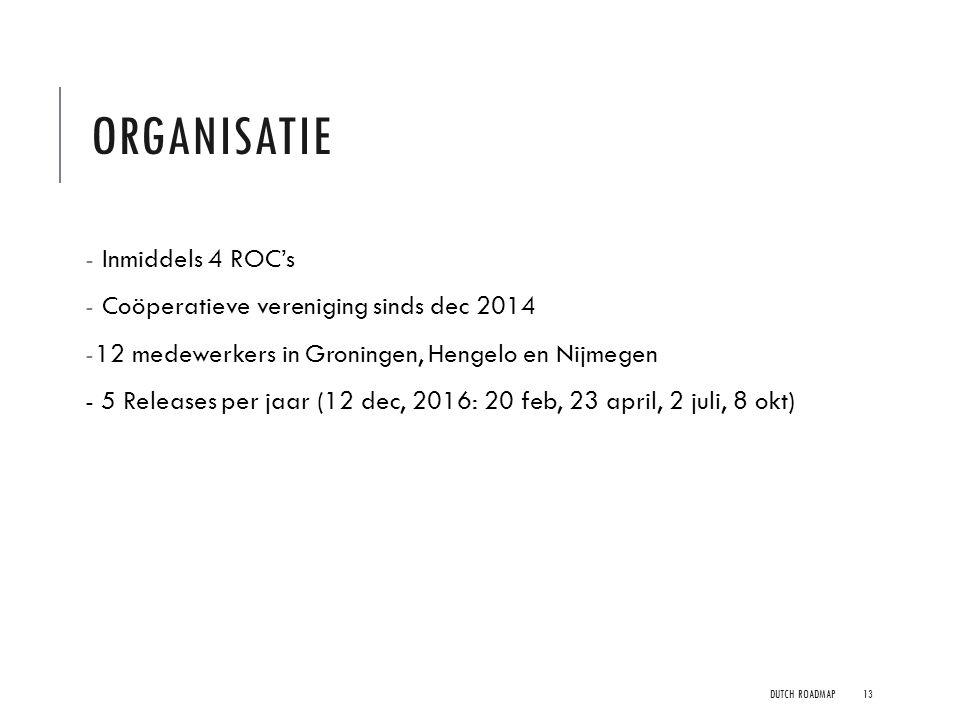 ORGANISATIE - Inmiddels 4 ROC's - Coöperatieve vereniging sinds dec 2014 -12 medewerkers in Groningen, Hengelo en Nijmegen - 5 Releases per jaar (12 d