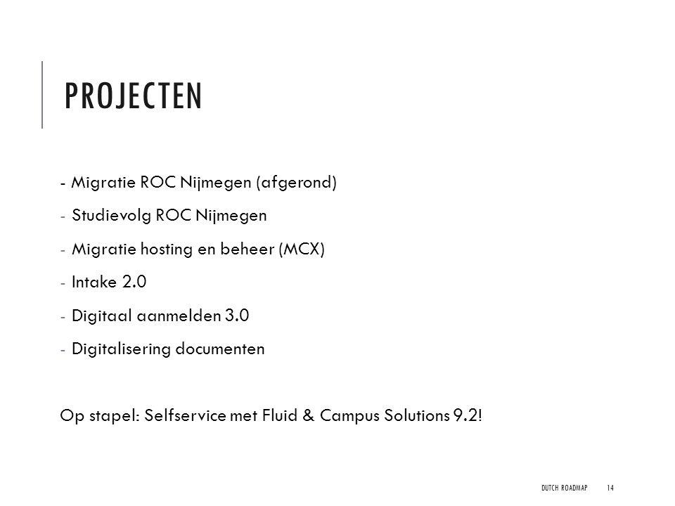PROJECTEN - Migratie ROC Nijmegen (afgerond) - Studievolg ROC Nijmegen - Migratie hosting en beheer (MCX) - Intake 2.0 - Digitaal aanmelden 3.0 - Digi