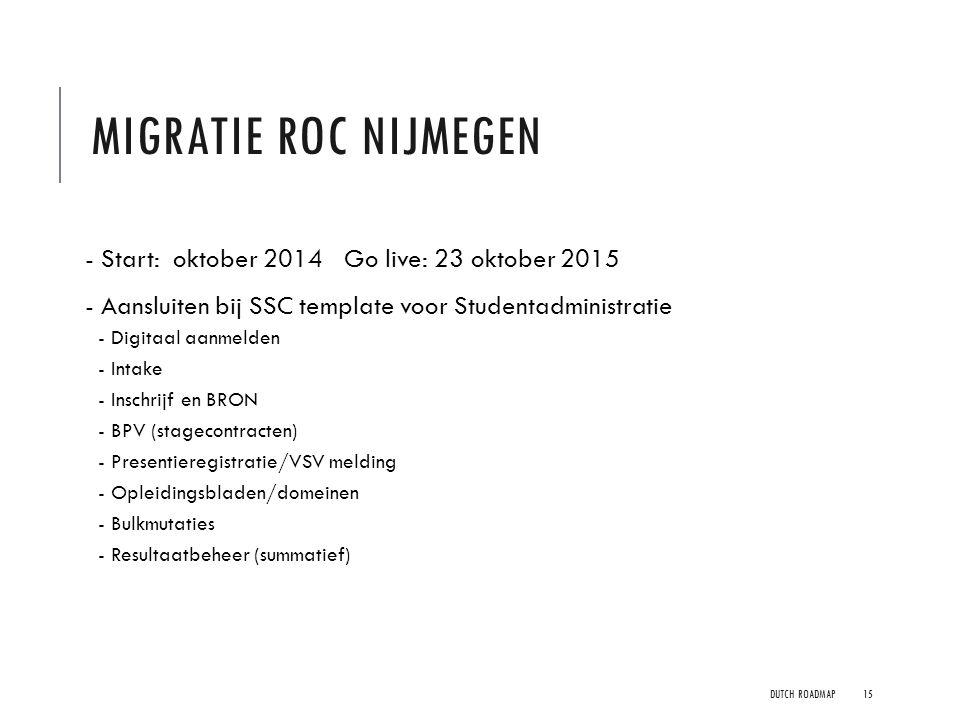 MIGRATIE ROC NIJMEGEN - Start: oktober 2014 Go live: 23 oktober 2015 - Aansluiten bij SSC template voor Studentadministratie - Digitaal aanmelden - In