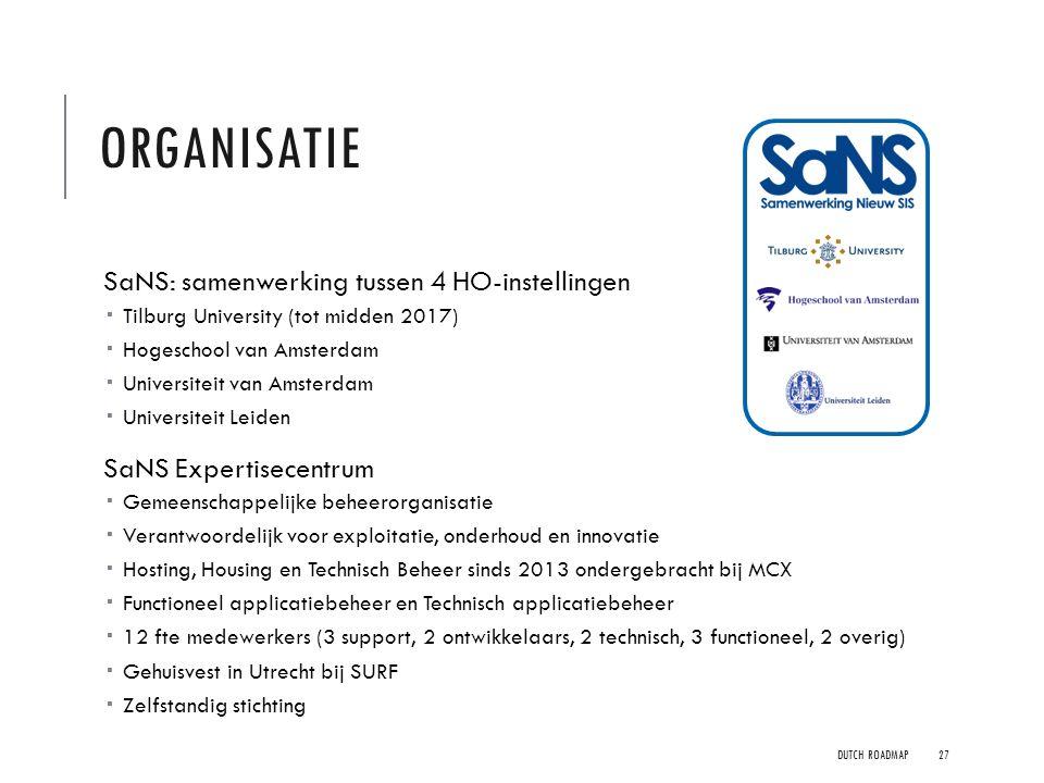 ORGANISATIE SaNS: samenwerking tussen 4 HO-instellingen  Tilburg University (tot midden 2017)  Hogeschool van Amsterdam  Universiteit van Amsterdam
