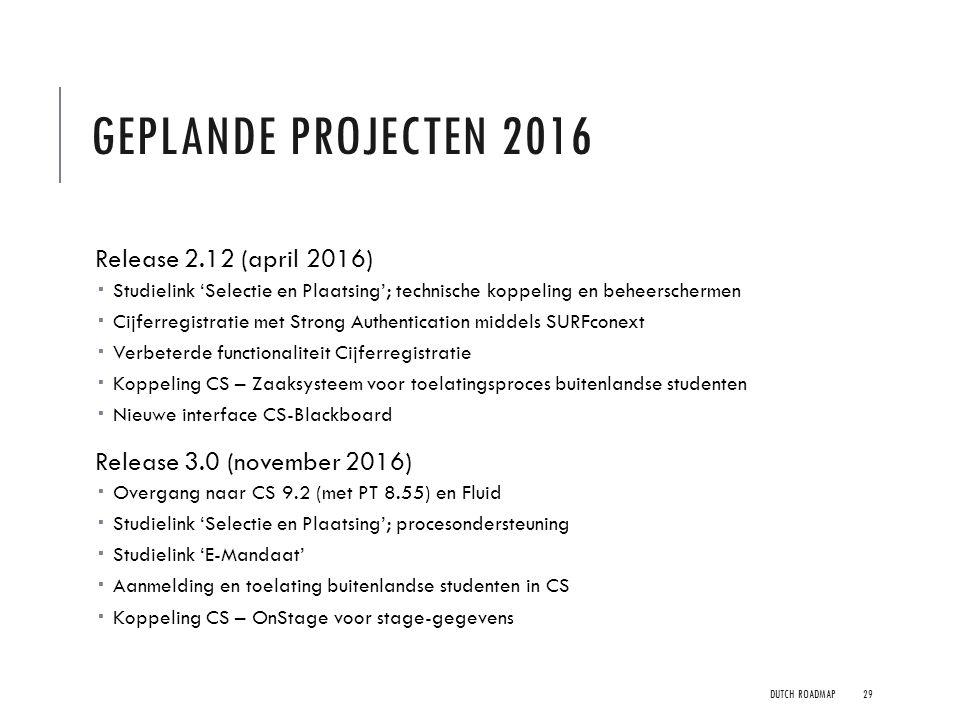 GEPLANDE PROJECTEN 2016 Release 2.12 (april 2016)  Studielink 'Selectie en Plaatsing'; technische koppeling en beheerschermen  Cijferregistratie met