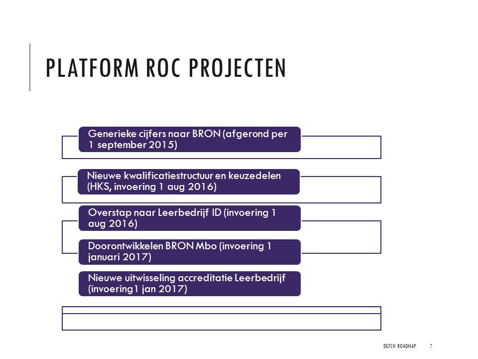 PLATFORM ROC PROJECTEN DUTCH ROADMAP7 Generieke cijfers naar BRON (afgerond per 1 september 2015) Nieuwe uitwisseling accreditatie Leerbedrijf (invoer