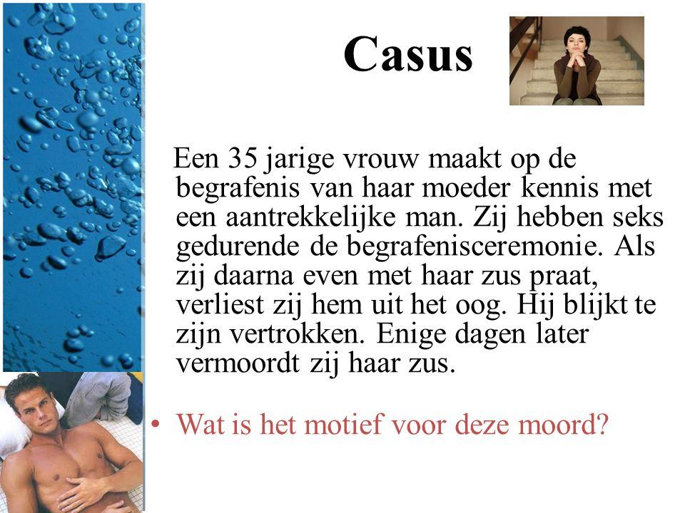 Casus Een 35 jarige vrouw maakt op de begrafenis van haar moeder kennis met een aantrekkelijke man. Zij hebben seks gedurende de begrafenisceremonie.