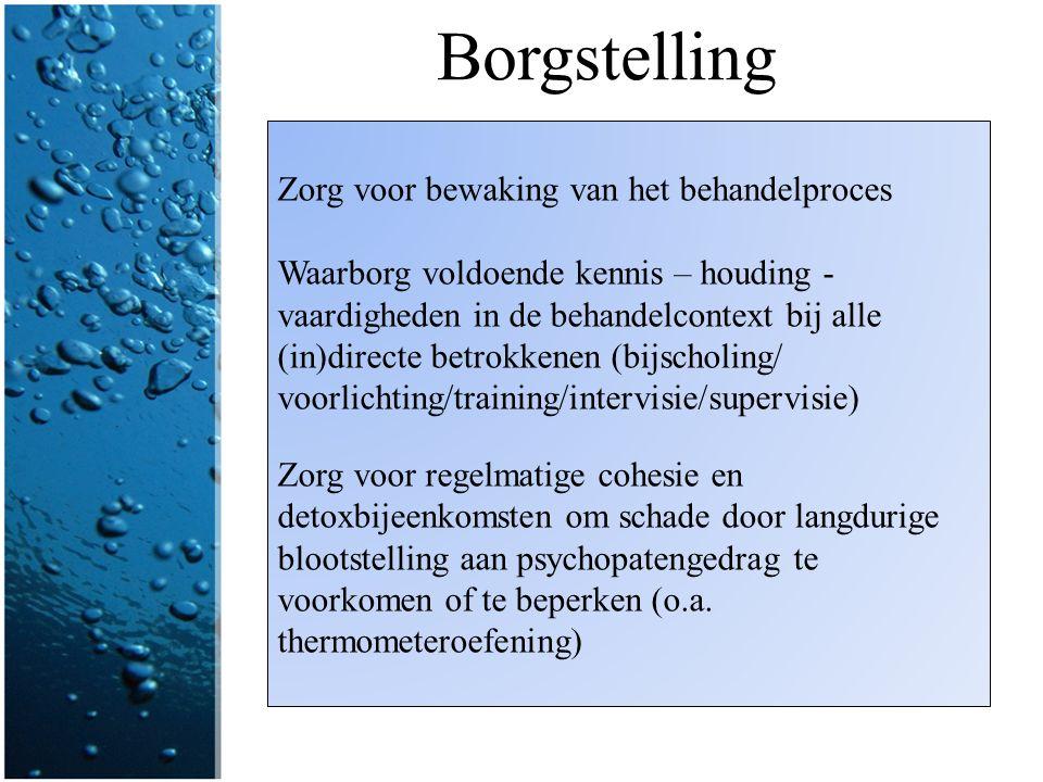 Borgstelling Zorg voor bewaking van het behandelproces Waarborg voldoende kennis – houding - vaardigheden in de behandelcontext bij alle (in)directe b