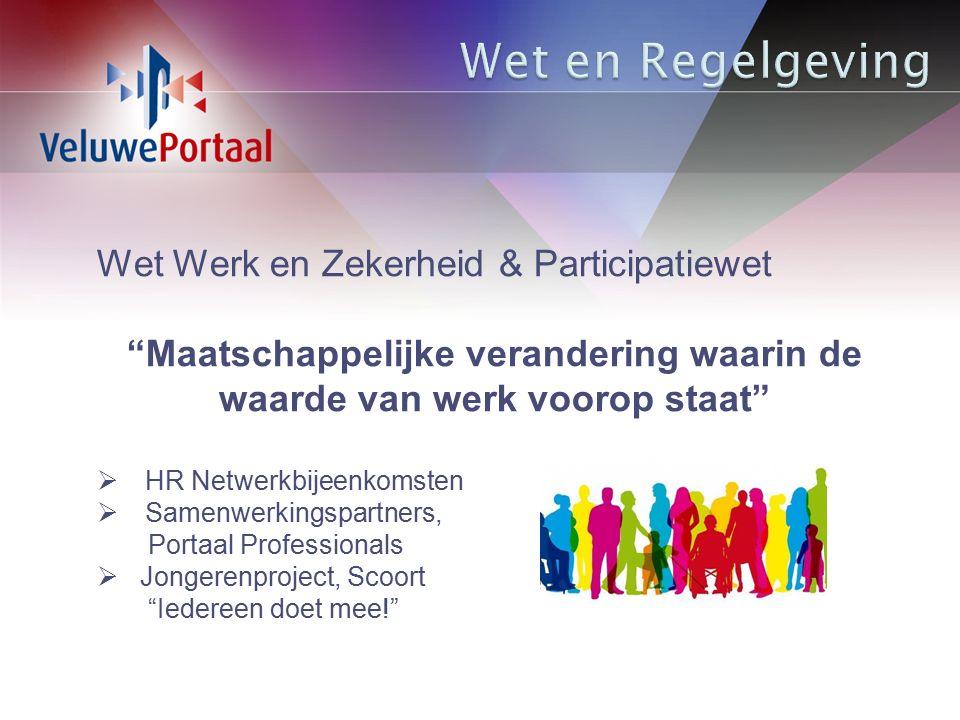 Wet Werk en Zekerheid & Participatiewet Maatschappelijke verandering waarin de waarde van werk voorop staat  HR Netwerkbijeenkomsten  Samenwerkingspartners, Portaal Professionals  Jongerenproject, Scoort Iedereen doet mee!
