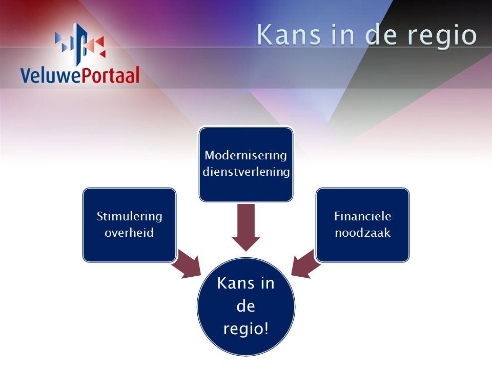 Kans in de regio! Stimulering overheid Modernisering dienstverlening Financiële noodzaak