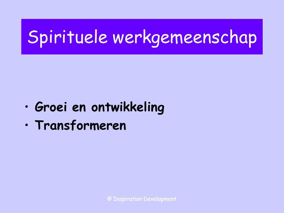 © Inspiration Development Discussie gemeenschapsvorming De kerkgemeenschap manifesteert zich in mystieke, liturgische, spirituele en sociale functies.