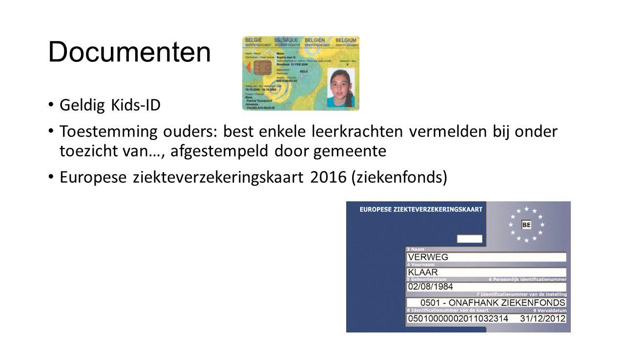 Documenten Geldig Kids-ID Toestemming ouders: best enkele leerkrachten vermelden bij onder toezicht van…, afgestempeld door gemeente Europese ziekteve