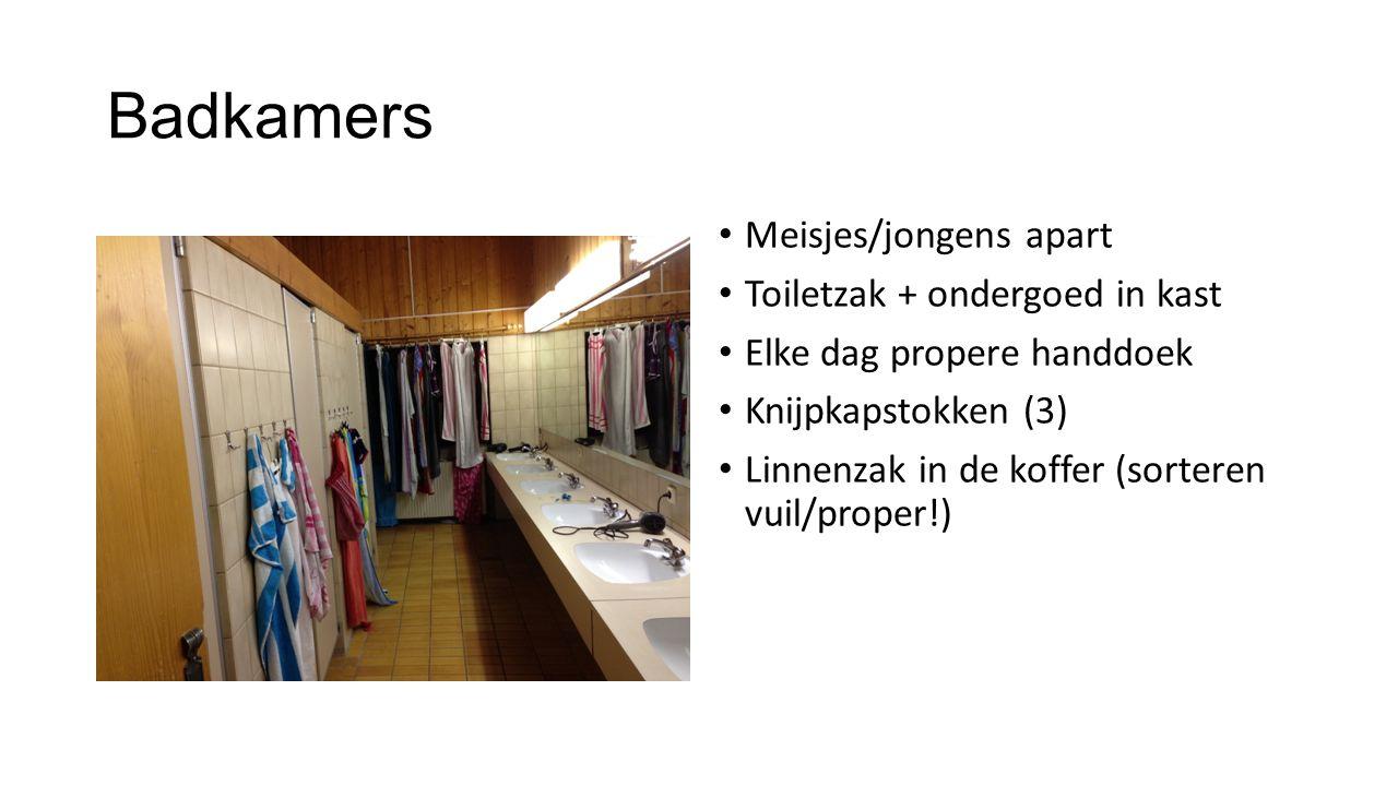 Badkamers Meisjes/jongens apart Toiletzak + ondergoed in kast Elke dag propere handdoek Knijpkapstokken (3) Linnenzak in de koffer (sorteren vuil/prop