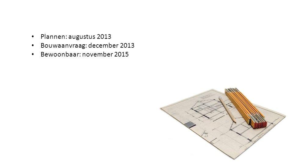 Plannen: augustus 2013 Bouwaanvraag: december 2013 Bewoonbaar: november 2015