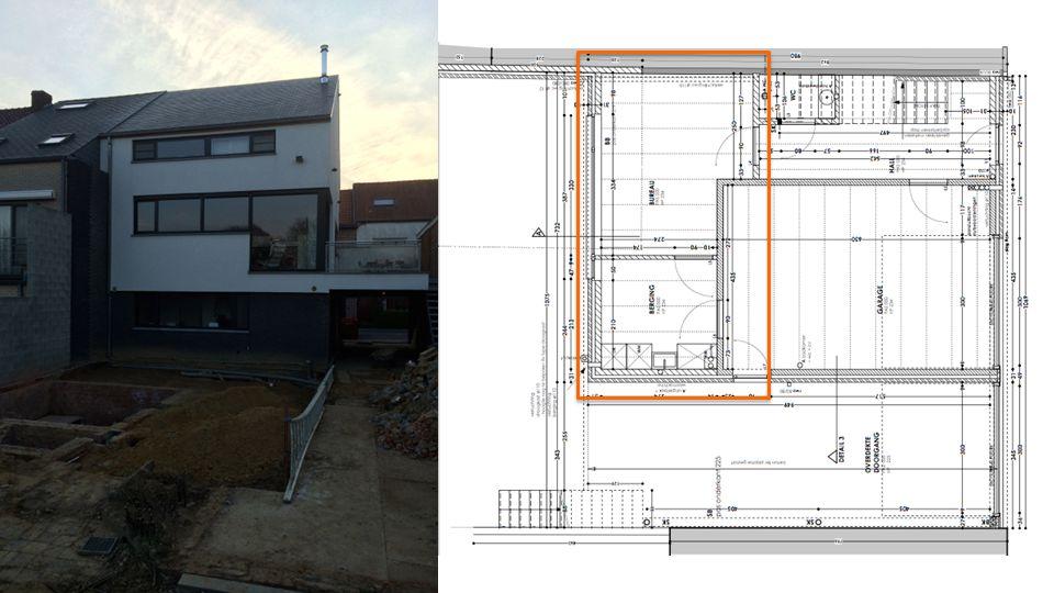 Gelijkvloers: Bureau en berging worden keuken en badkamer Aanbouw: Living 2 slaapkamers 70 vierkante meter