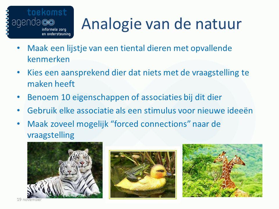 Analogie van de natuur Maak een lijstje van een tiental dieren met opvallende kenmerken Kies een aansprekend dier dat niets met de vraagstelling te ma