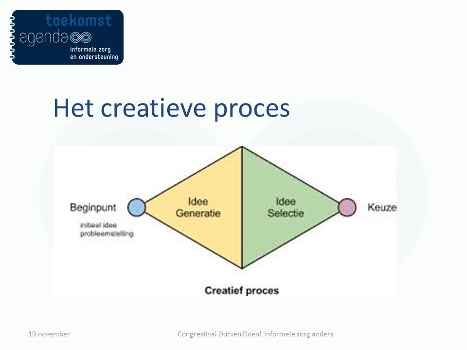 Het creatieve proces 19 novemberCongrestival Durven Doen! Informele zorg anders