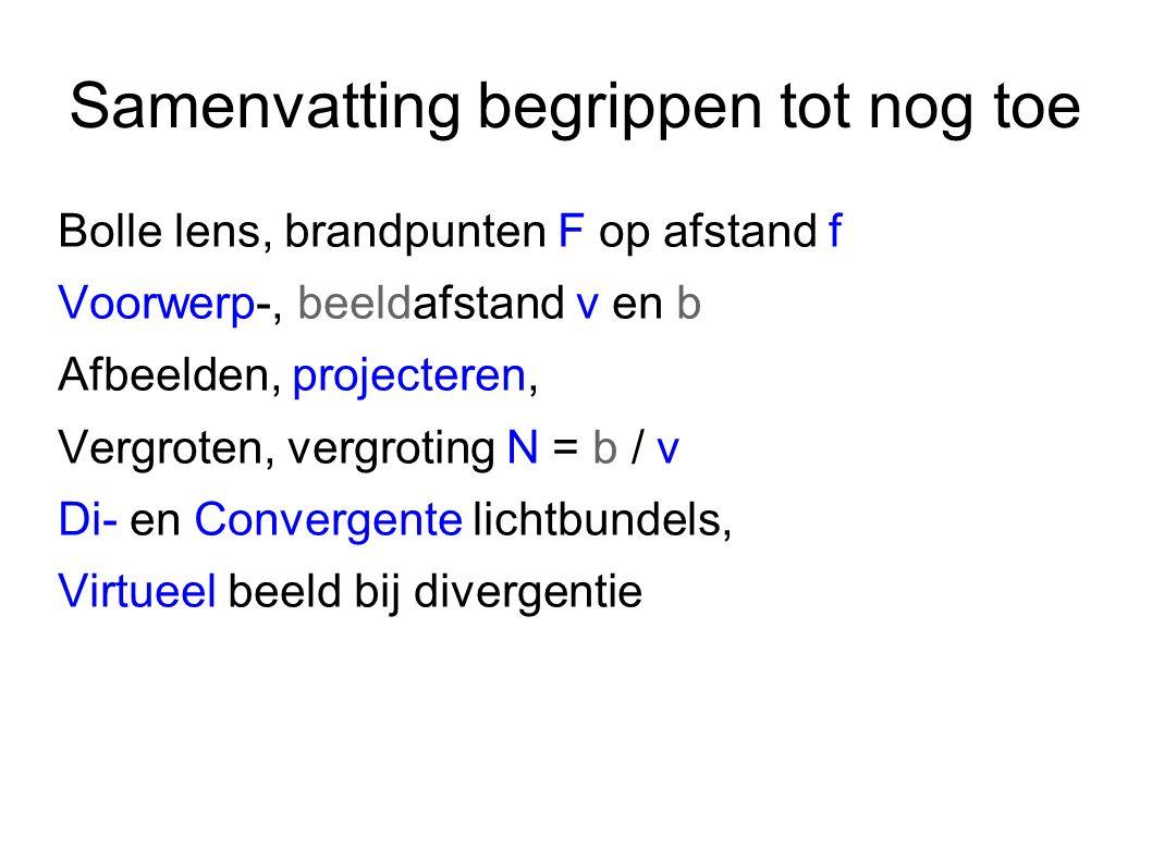 Samenvatting begrippen tot nog toe Bolle lens, brandpunten F op afstand f Voorwerp-, beeldafstand v en b Afbeelden, projecteren, Vergroten, vergroting