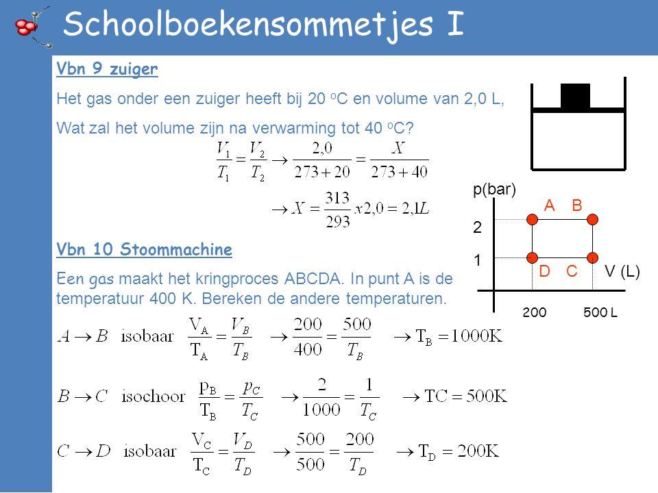 Schoolboekensommetjes I Vbn 9 zuiger Het gas onder een zuiger heeft bij 20 o C en volume van 2,0 L, Wat zal het volume zijn na verwarming tot 40 o C?