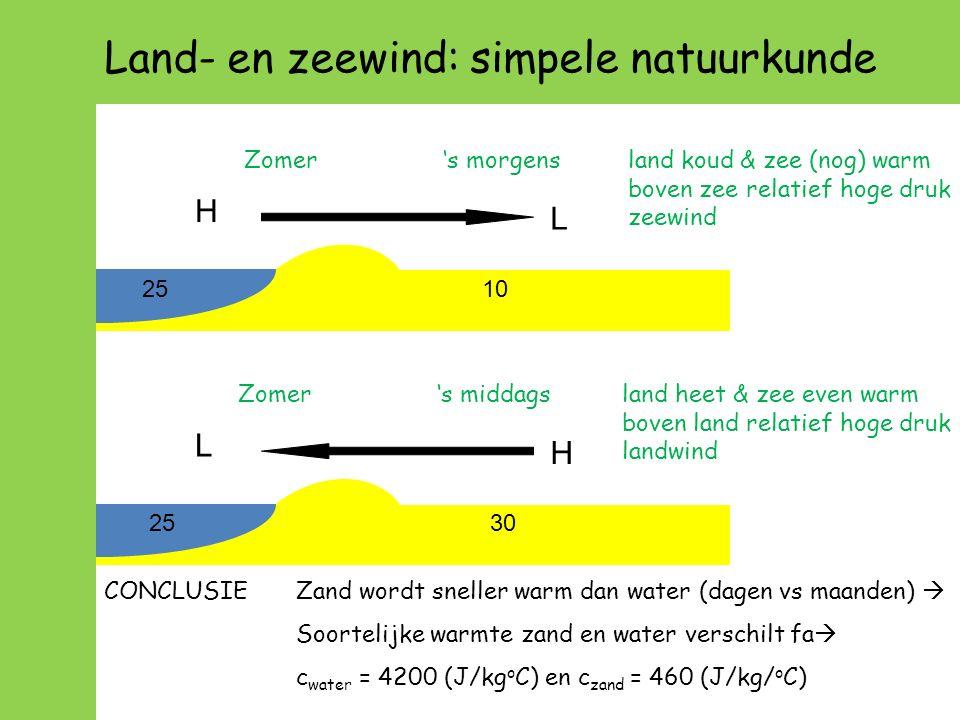 Land- en zeewind: simpele natuurkunde Zomer 's morgensland koud & zee (nog) warm boven zee relatief hoge druk zeewind Zomer 's middagsland heet & zee even warm boven land relatief hoge druk landwind CONCLUSIEZand wordt sneller warm dan water (dagen vs maanden)  Soortelijke warmte zand en water verschilt fa  c water = 4200 (J/kg o C) en c zand = 460 (J/kg/ o C) 2530 H L 2510 H L