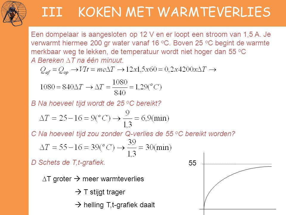 III KOKEN MET WARMTEVERLIES Een dompelaar is aangesloten op 12 V en er loopt een stroom van 1,5 A. Je verwarmt hiermee 200 gr water vanaf 16 o C. Bove