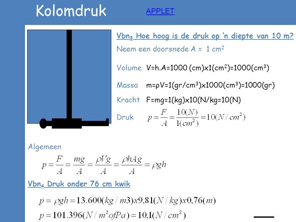 Kolomdruk Vbn 3 Hoe hoog is de druk op 'n diepte van 10 m? Neem een doorsnede A = 1 cm 2 Volume V=h.A=1000 (cm)x1(cm 2 )=1000(cm 3 ) Massa m=ρV=1(gr/c