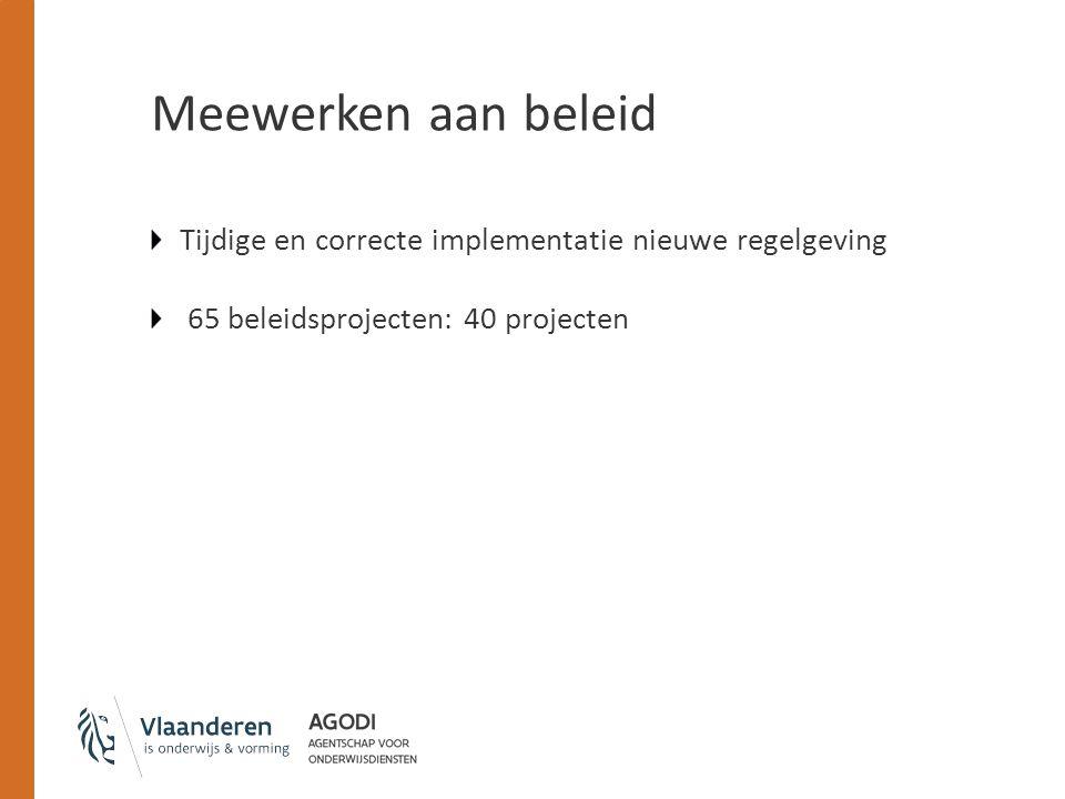 Meewerken aan beleid Tijdige en correcte implementatie nieuwe regelgeving 65 beleidsprojecten: 40 projecten