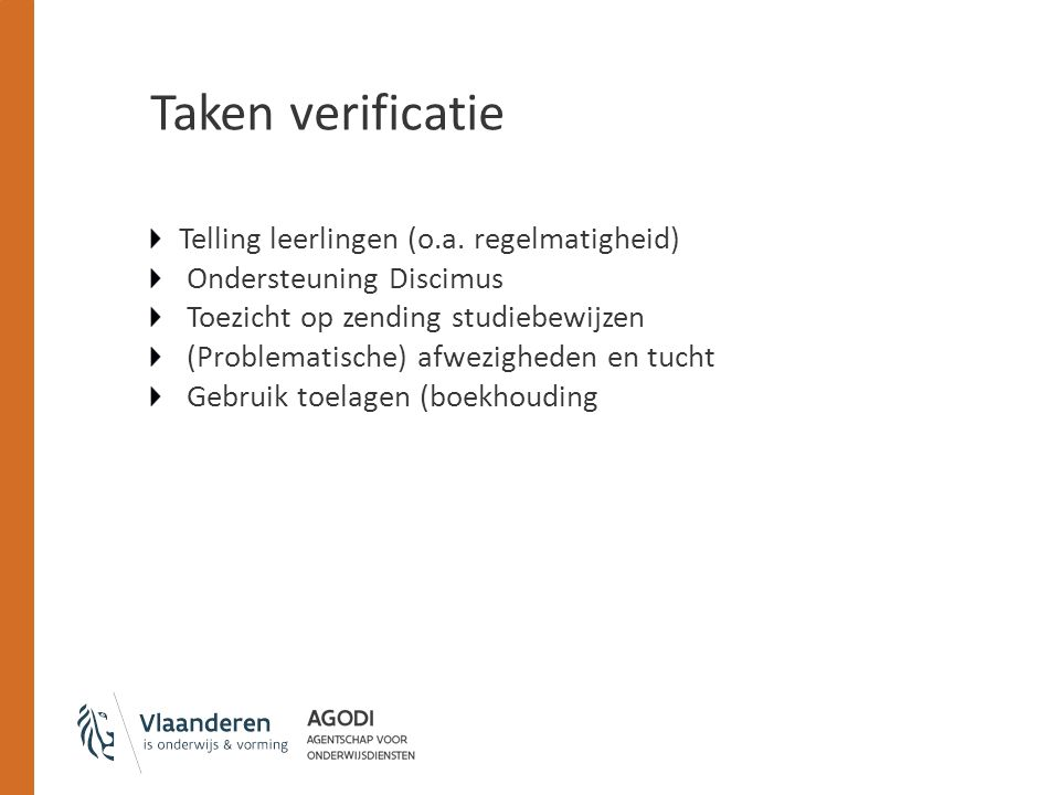 Taken verificatie Telling leerlingen (o.a.