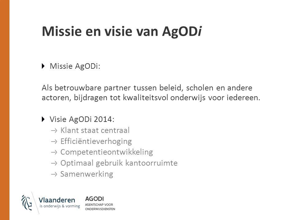 Missie en visie van AgODi Missie AgODi: Als betrouwbare partner tussen beleid, scholen en andere actoren, bijdragen tot kwaliteitsvol onderwijs voor iedereen.