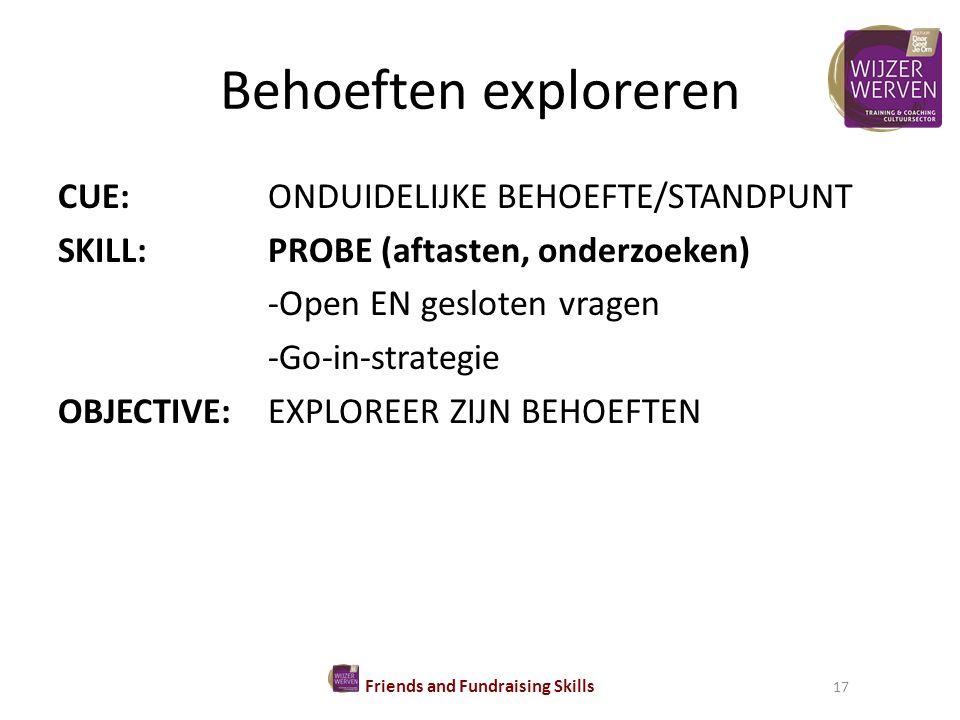 Behoeften exploreren CUE:ONDUIDELIJKE BEHOEFTE/STANDPUNT SKILL:PROBE (aftasten, onderzoeken) -Open EN gesloten vragen -Go-in-strategie OBJECTIVE:EXPLOREER ZIJN BEHOEFTEN Friends and Fundraising Skills 17