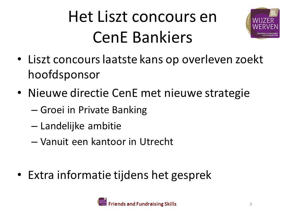 Het Liszt concours en CenE Bankiers Liszt concours laatste kans op overleven zoekt hoofdsponsor Nieuwe directie CenE met nieuwe strategie – Groei in Private Banking – Landelijke ambitie – Vanuit een kantoor in Utrecht Extra informatie tijdens het gesprek Friends and Fundraising Skills 9