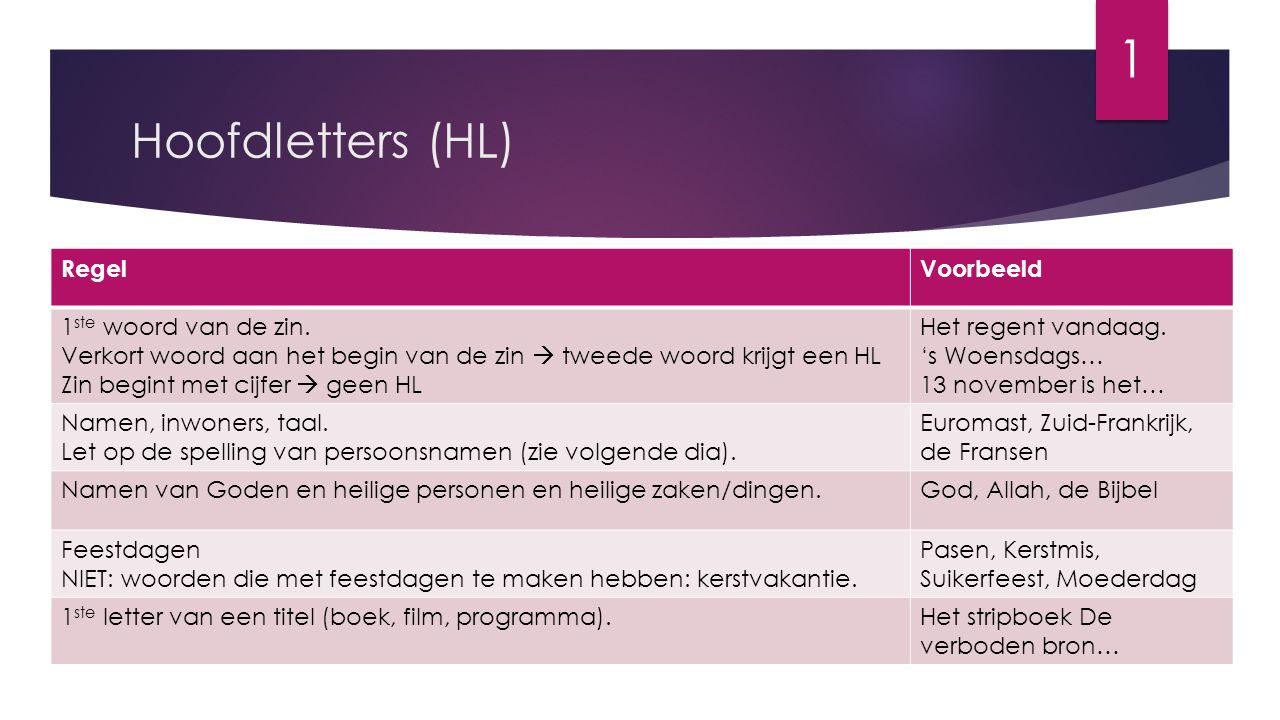 Hoofdletters (HL) RegelVoorbeeld 1 ste woord van de zin. Verkort woord aan het begin van de zin  tweede woord krijgt een HL Zin begint met cijfer  g