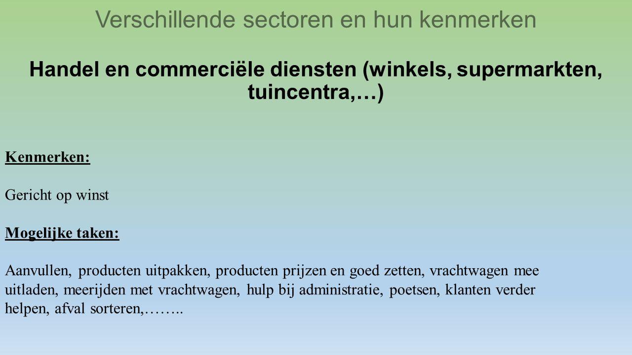 Verschillende sectoren en hun kenmerken Handel en commerciële diensten (winkels, supermarkten, tuincentra,…) Kenmerken: Gericht op winst Mogelijke tak