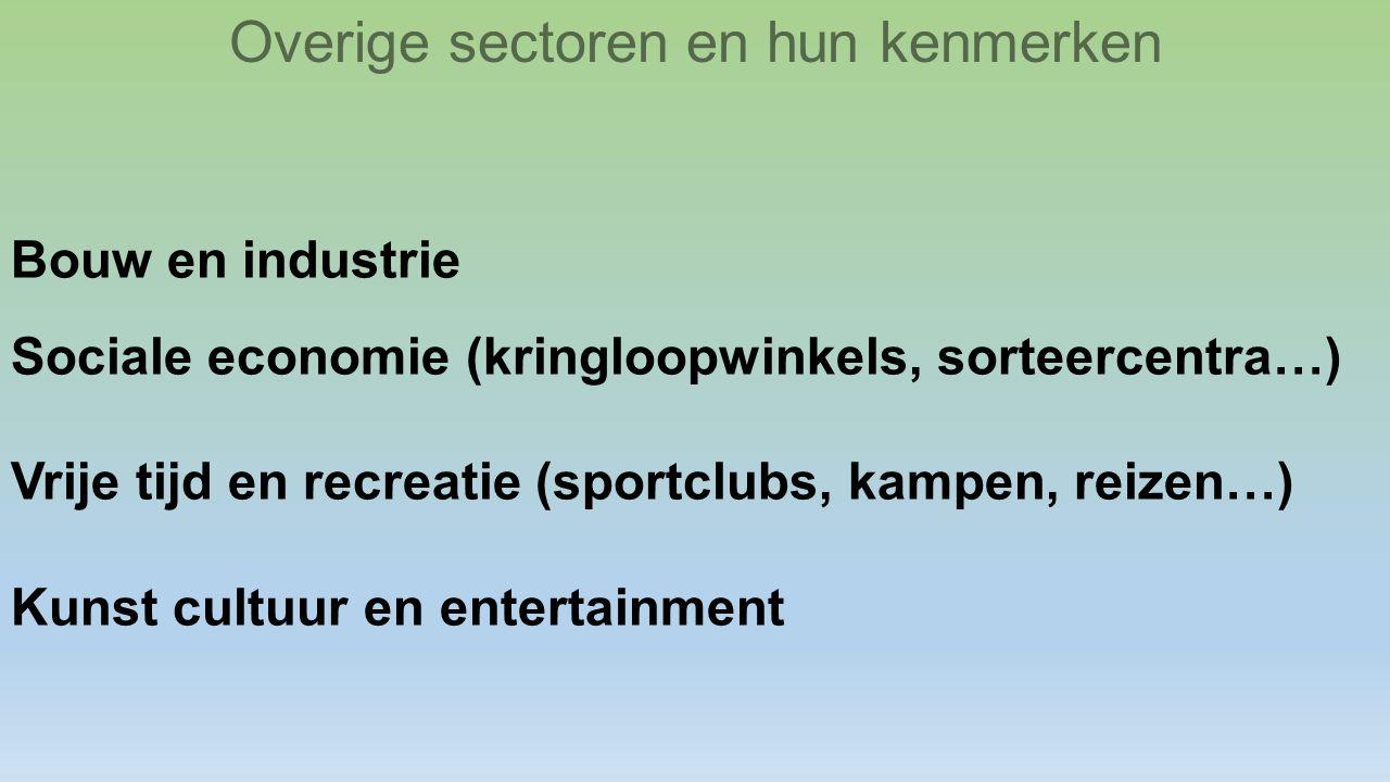 Bouw en industrie Sociale economie (kringloopwinkels, sorteercentra…) Vrije tijd en recreatie (sportclubs, kampen, reizen…) Kunst cultuur en entertain