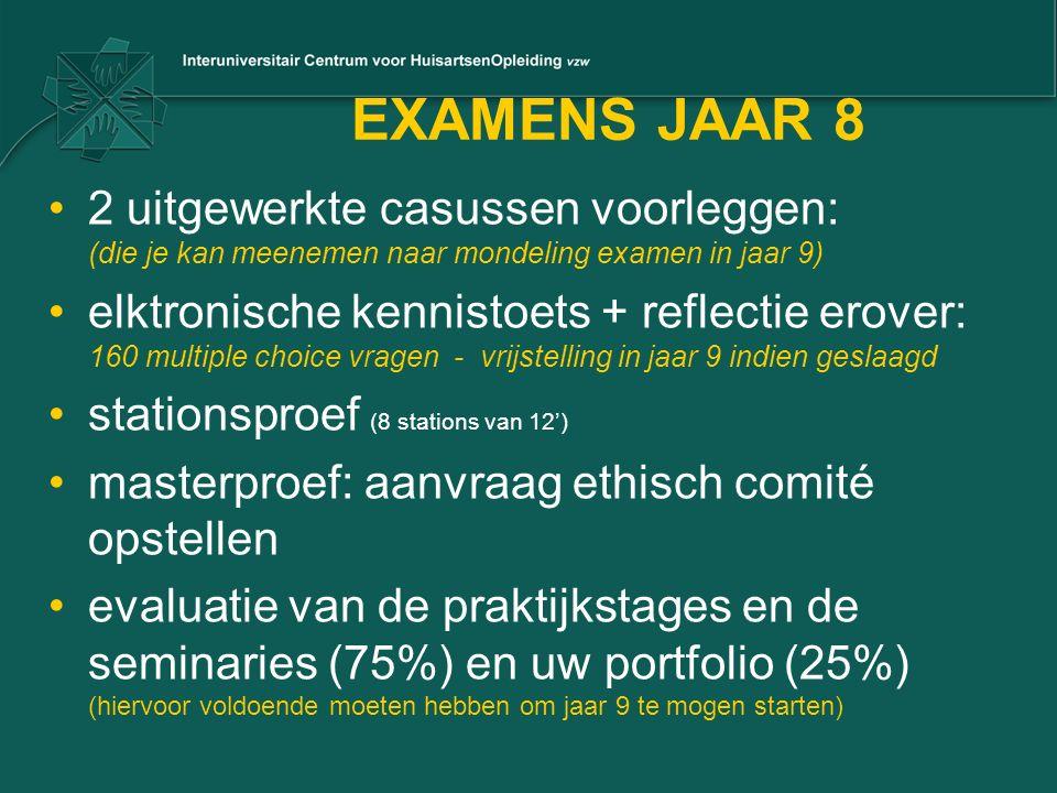 EXAMENS JAAR 8 2 uitgewerkte casussen voorleggen: (die je kan meenemen naar mondeling examen in jaar 9) elktronische kennistoets + reflectie erover: 1