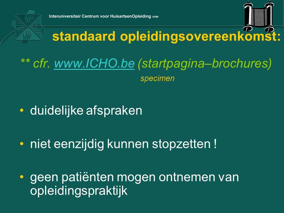 standaard opleidingsovereenkomst: ** cfr. www.ICHO.be (startpagina–brochures) specimenwww.ICHO.be duidelijke afspraken niet eenzijdig kunnen stopzette