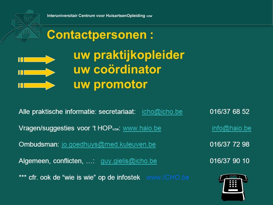 Contactpersonen : uw praktijkopleider uw coördinator uw promotor Alle praktische informatie: secretariaat: icho@icho.be 016/37 68 52icho@icho.be Vrage