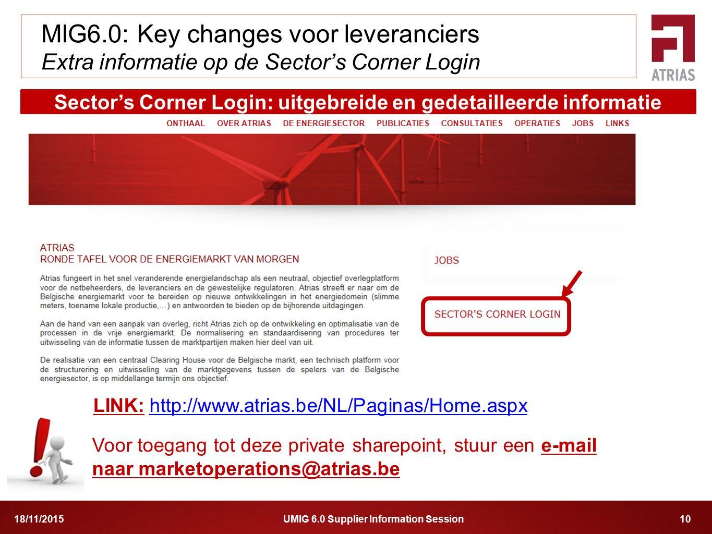 UMIG 6.0 Supplier Information Session 1018/11/2015 MIG6.0: Key changes voor leveranciers Extra informatie op de Sector's Corner Login Sector's Corner