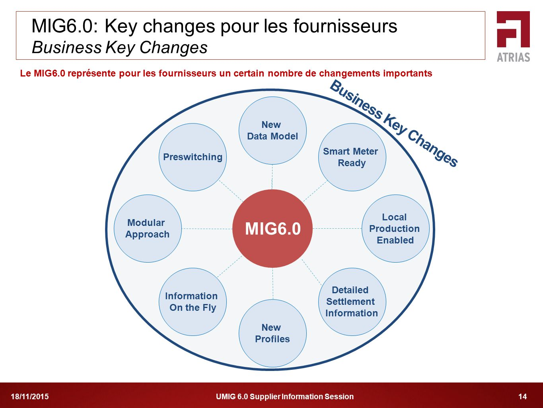 UMIG 6.0 Supplier Information Session 1418/11/2015 Le MIG6.0 représente pour les fournisseurs un certain nombre de changements importants MIG6.0: Key