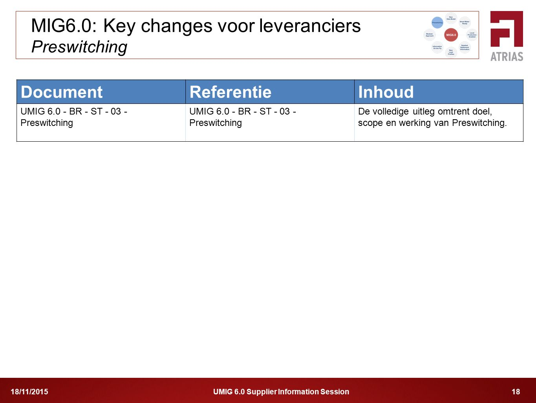 UMIG 6.0 Supplier Information Session 1818/11/2015 MIG6.0: Key changes voor leveranciers Preswitching DocumentReferentieInhoud UMIG 6.0 - BR - ST - 03