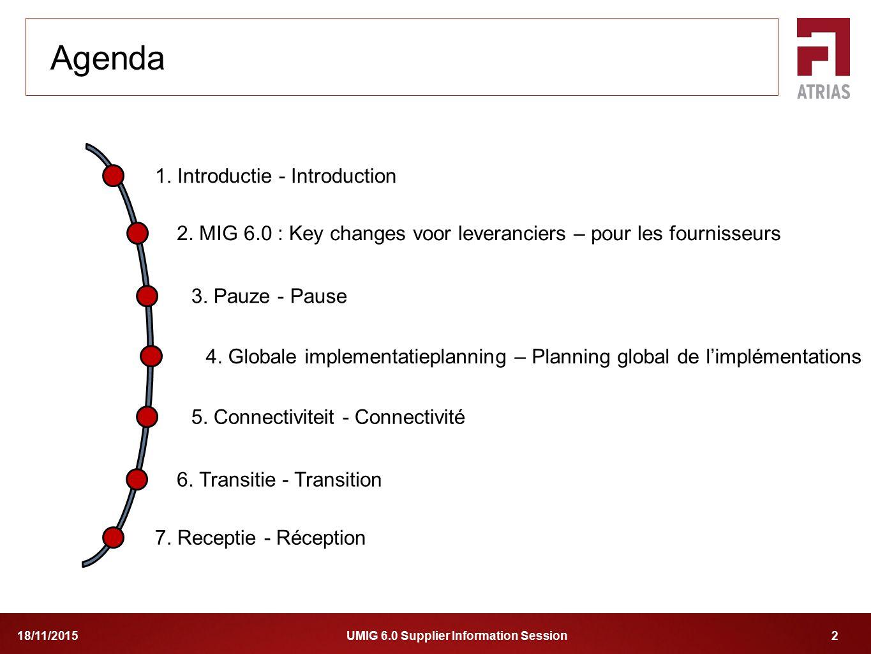 UMIG 6.0 Supplier Information Session 218/11/2015 1. Introductie - Introduction 2. MIG 6.0 : Key changes voor leveranciers – pour les fournisseurs 4.